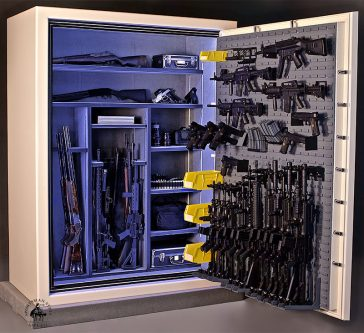 a tactical safe overcrowded with armory