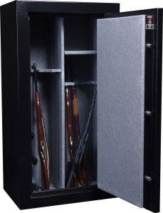 a gun safe with a few long guns in it