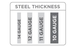 a chart showing steel thickness